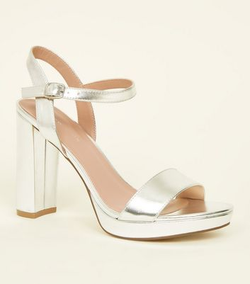Silver Metallic Block Heel Platform Sandals