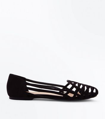 Wide Fit Black Suedette Caged Pumps New Look
