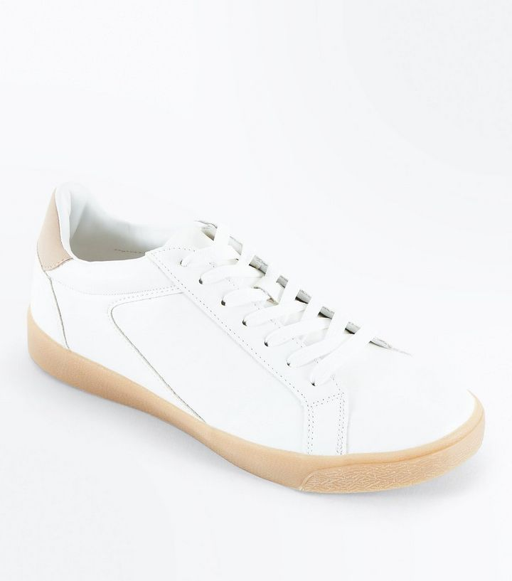 7202b4a9ee86 White Gum Sole Lace Up Trainers