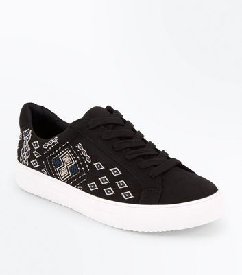 Black Suedette Aztec Embroidered Trainers New Look
