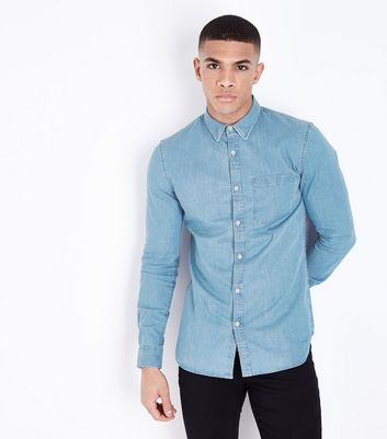 Bright Blue Muscle Fit Denim Shirt