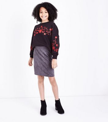 Teens Black Floral Embroidered Jumper New Look