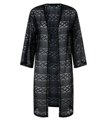 Black Crochet Longline Kimono New Look