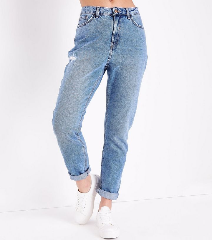 9006abf2dfd ... Blue Distressed Tori Mom Jeans. ×. ×. ×. Shop the look