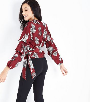 Parisian Red Floral Wrap Front Top New Look
