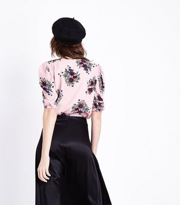 Parisian Pink Floral Print Puff Sleeve Top New Look
