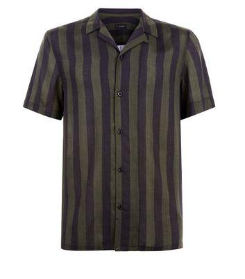 Khaki Stripe Revere Shirt New Look
