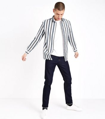 White Stripe Brushed Long Sleeve Shirt New Look