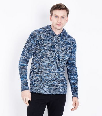 Blue Textured Knit Hoodie New Look