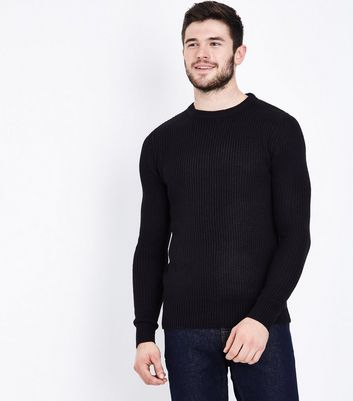 Black Ribbed Crew Neck Jumper New Look