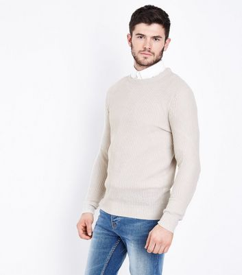 Cream Ribbed Crew Neck Jumper New Look