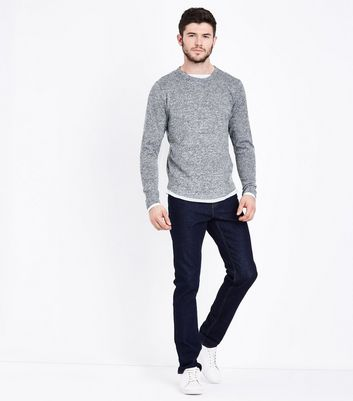 Grey Long Sleeve Layered Jumper New Look