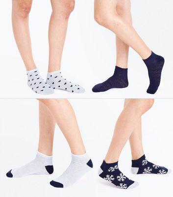 4 Pack Snowflake Print Trainer Socks New Look