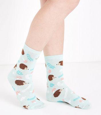 Mint Green Hedgehog Pattern Socks New Look