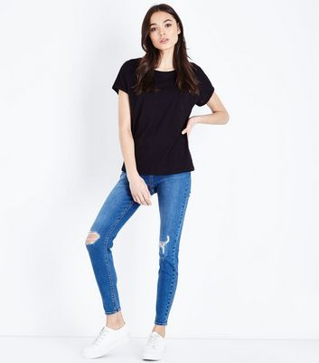 Black Organic Cotton Pocket Front T-Shirt New Look