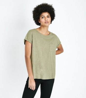 Olive Green Organic Cotton Pocket Front T-Shirt