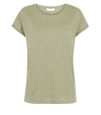 Olive Green Organic Cotton Pocket Front T-Shirt New Look