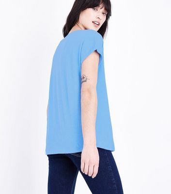 Bright Blue Organic Cotton Pocket Front T-Shirt New Look
