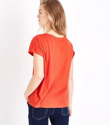 Orange Organic Cotton Pocket Front T-Shirt New Look