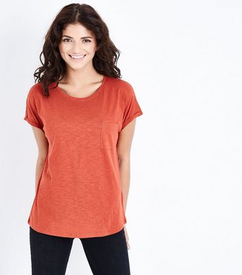 Coral Organic Cotton Pocket Front T-Shirt New Look