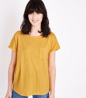 Yellow Organic Cotton Pocket Front T-Shirt New Look