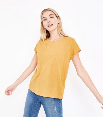 Mustard Organic Cotton Pocket Front T-Shirt New Look