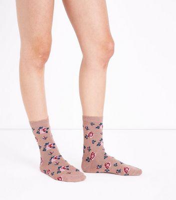 Gold Rose Print Socks New Look