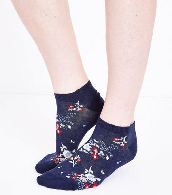 Navy Floral Print Trainer Socks New Look