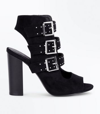 Wide Fit Black Suedette Stud Buckle Strap Block Heels New Look
