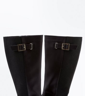 Wide Fit Black Elasticated Back Knee High Boots New Look