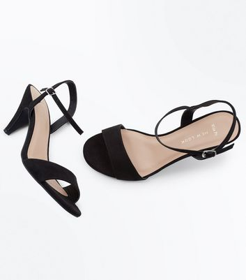 Wide Fit Black Cone Heel Ankle Strap Sandals New Look