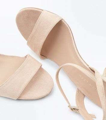 Wide Fit Nude Cone Heel Ankle Strap Sandals New Look