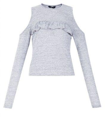 Teens Grey Frill Front Cold Shoulder Top New Look