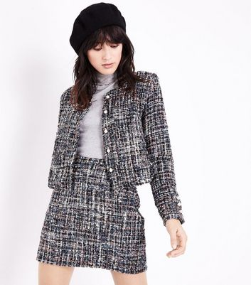 Cameo Rose Black Glitter Boucle Cropped Jacket New Look
