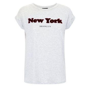 Grey New York Faux Fur Slogan T-Shirt New Look