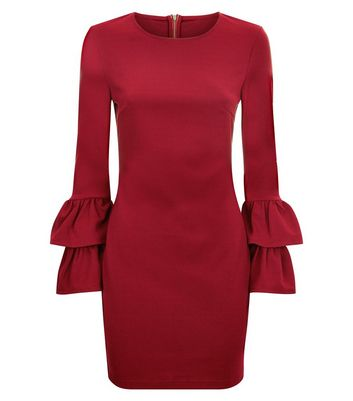 Parisian Burgundy Tiered Bell Sleeve Dress New Look