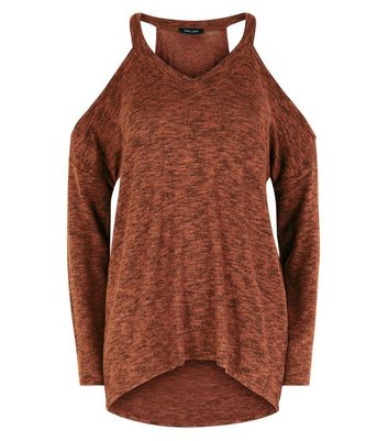 Rust Marl Cold Shoulder Fine Knit Top New Look