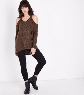 Khaki Marl Cold Shoulder Fine Knit Top New Look