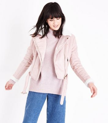 Parisian Shell Pink Faux Borg Collar Aviator Jacket
