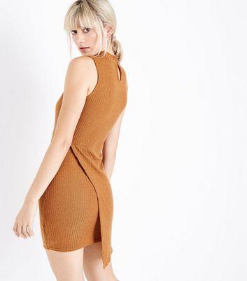 Parisian Mustard Yellow Wrap Skirt Ribbed Dress New Look