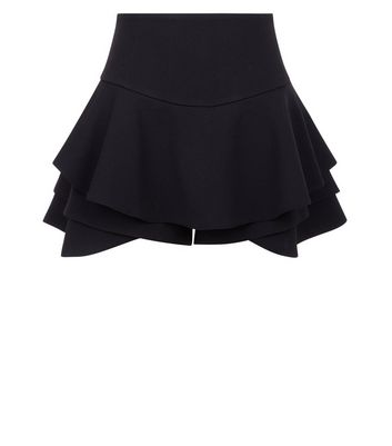 Teens Black Frill Hem Skort New Look