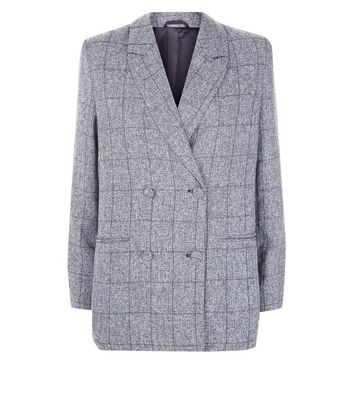Parisian Grey Check Double Breasted Suit Jacket New Look
