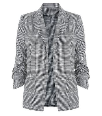 Parisian White Dogtooth Check Ruched Sleeve Blazer New Look