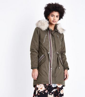 Khaki Studded Tape Parka New Look
