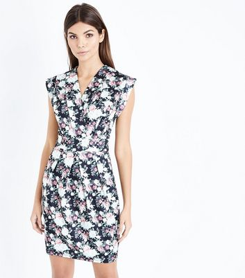 Blue Vanilla Ditsy Floral Wrap Dress New Look Cheap 100% Authentic Best Sale Sale Online 5g4gpwL