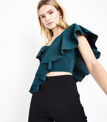 Cameo Rose Dark Green Asymmetric Frill Trim Top New Look