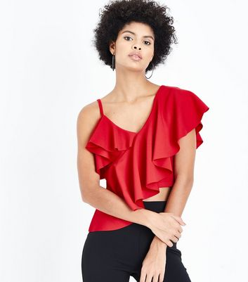 Cameo Rose Frill Trim Asymmetric Top New Look