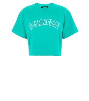 Green Romance Print Cropped T-Shirt New Look