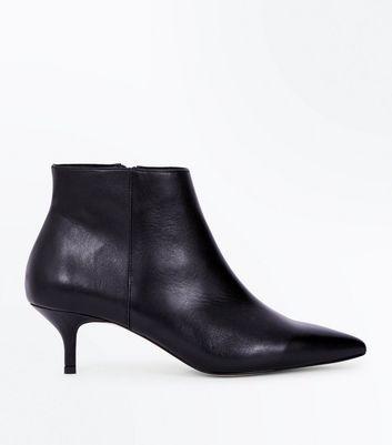 Black Premium Leather Kitten Heel Boots New Look