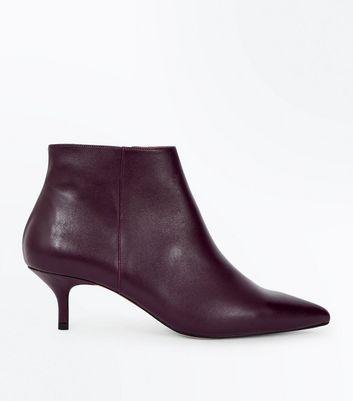 Burgundy Premium Leather Kitten Heel Boots New Look
